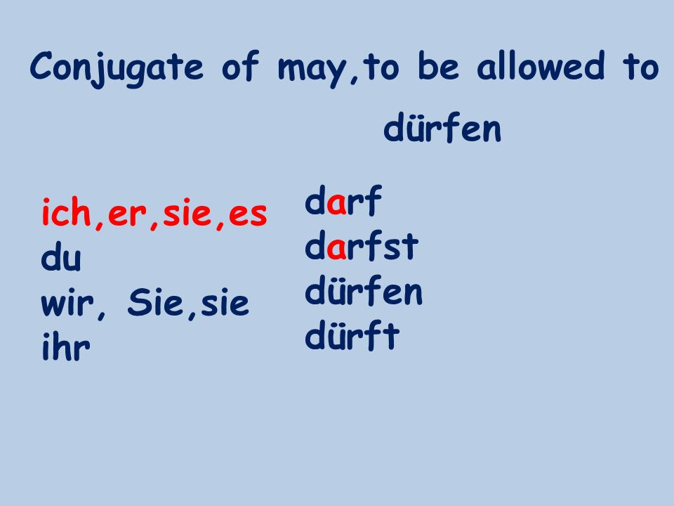 Conjugate of may,to be allowed to