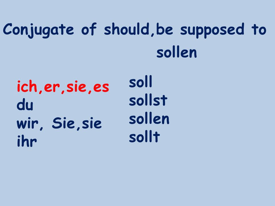 Conjugate of should,be supposed to