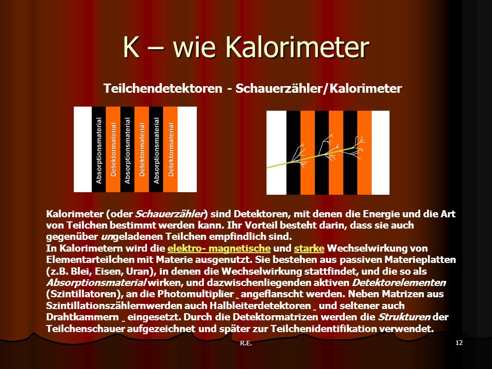 K – wie Kalorimeter Teilchendetektoren - Schauerzähler/Kalorimeter