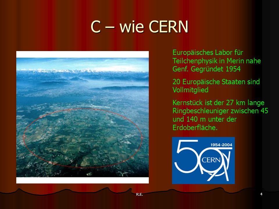 C – wie CERN Europäisches Labor für Teilchenphysik in Merin nahe Genf. Gegründet 1954. 20 Europäische Staaten sind Vollmitglied.