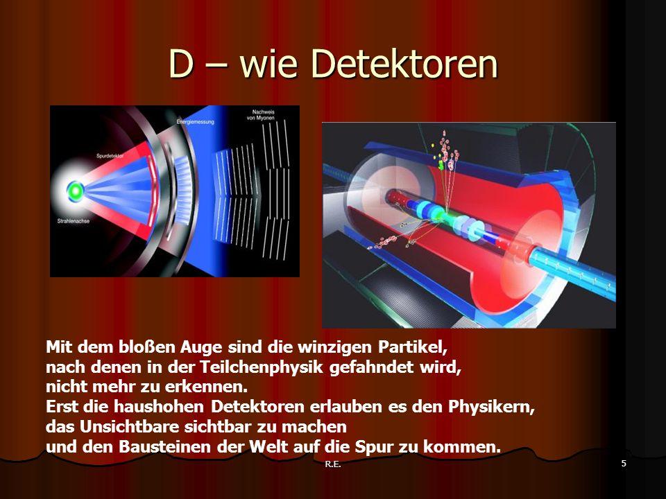D – wie Detektoren Mit dem bloßen Auge sind die winzigen Partikel,