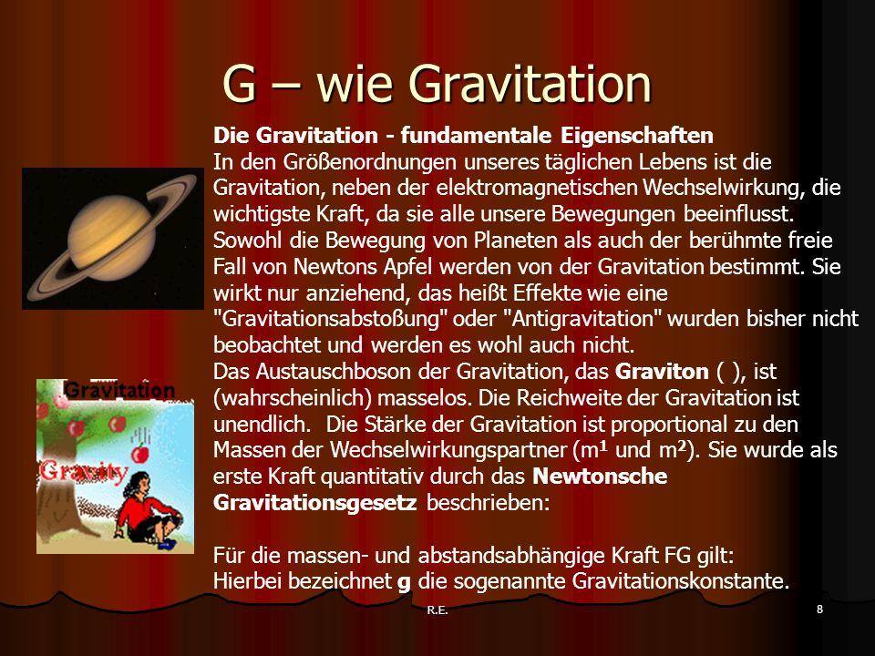 G – wie Gravitation Die Gravitation - fundamentale Eigenschaften