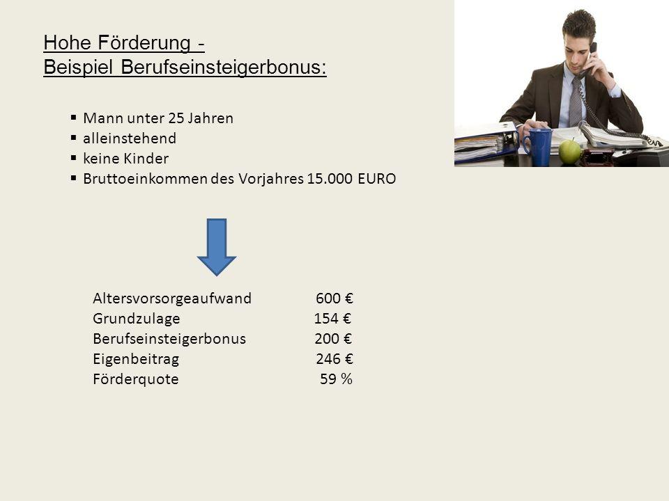 Beispiel Berufseinsteigerbonus: