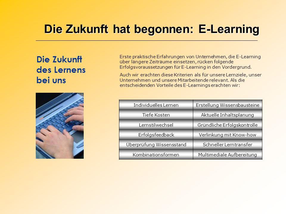 Die Zukunft hat begonnen: E-Learning