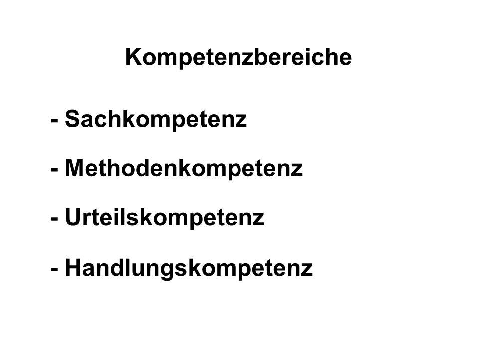 Kompetenzbereiche - Sachkompetenz - Methodenkompetenz - Urteilskompetenz - Handlungskompetenz