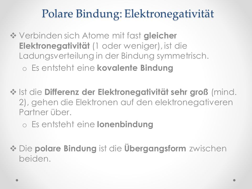 Polare Bindung: Elektronegativität