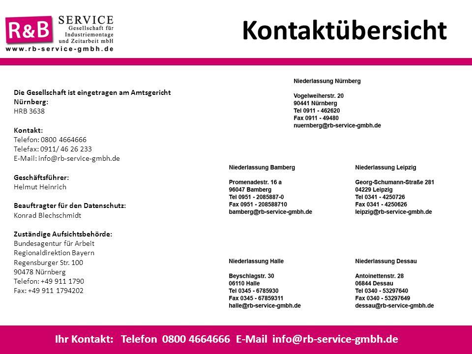 Kontaktübersicht Die Gesellschaft ist eingetragen am Amtsgericht Nürnberg: HRB 3638. Kontakt:
