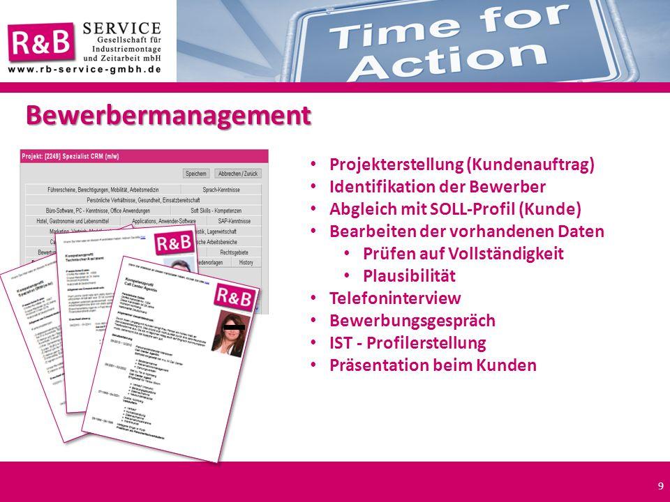 Bewerbermanagement Projekterstellung (Kundenauftrag)