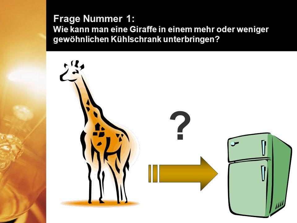 Frage Nummer 1: Wie kann man eine Giraffe in einem mehr oder weniger gewöhnlichen Kühlschrank unterbringen