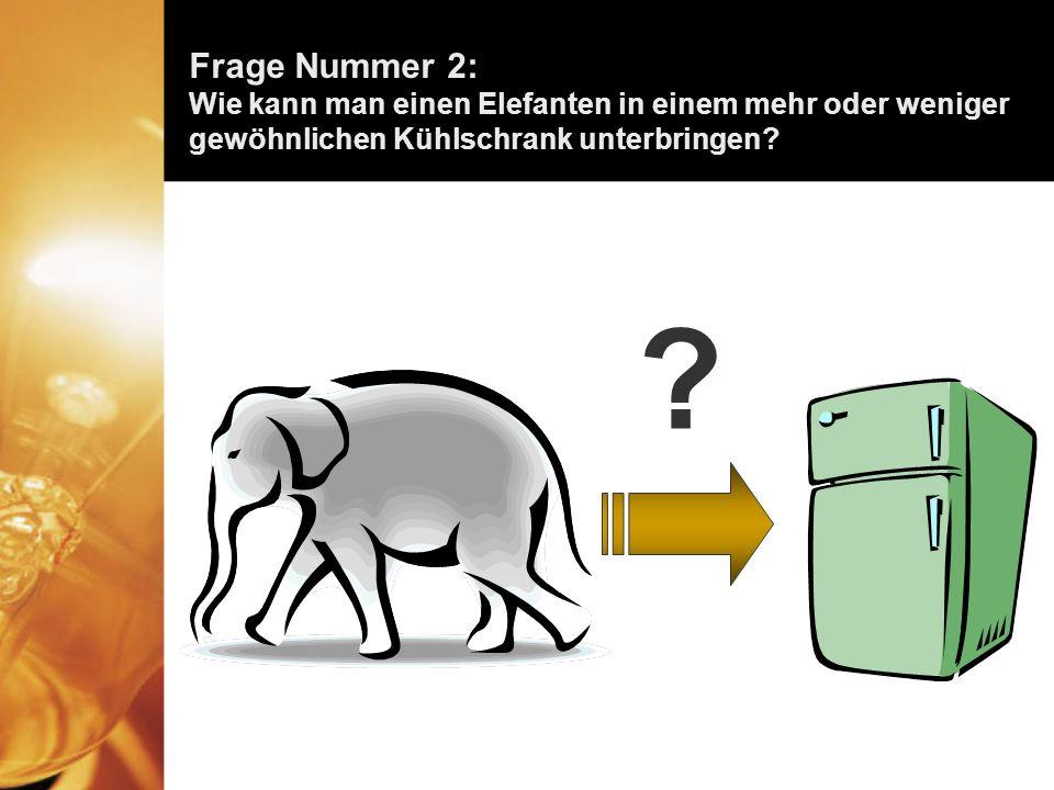 Frage Nummer 2: Wie kann man einen Elefanten in einem mehr oder weniger gewöhnlichen Kühlschrank unterbringen
