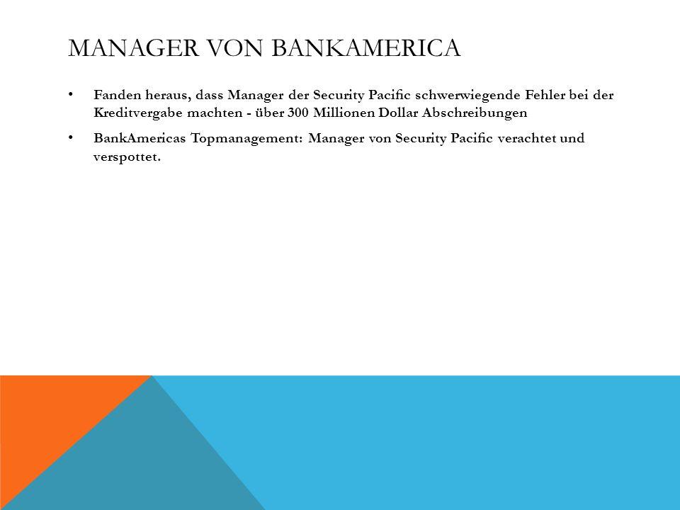 Manager von BankAmerica