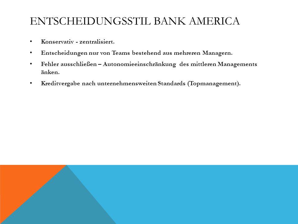 Entscheidungsstil Bank America