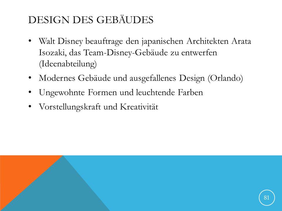 Design des Gebäudes Walt Disney beauftrage den japanischen Architekten Arata Isozaki, das Team-Disney-Gebäude zu entwerfen (Ideenabteilung)