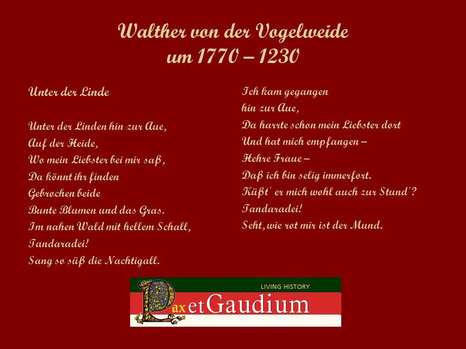 Walther von der Vogelweide um 1770 – 1230