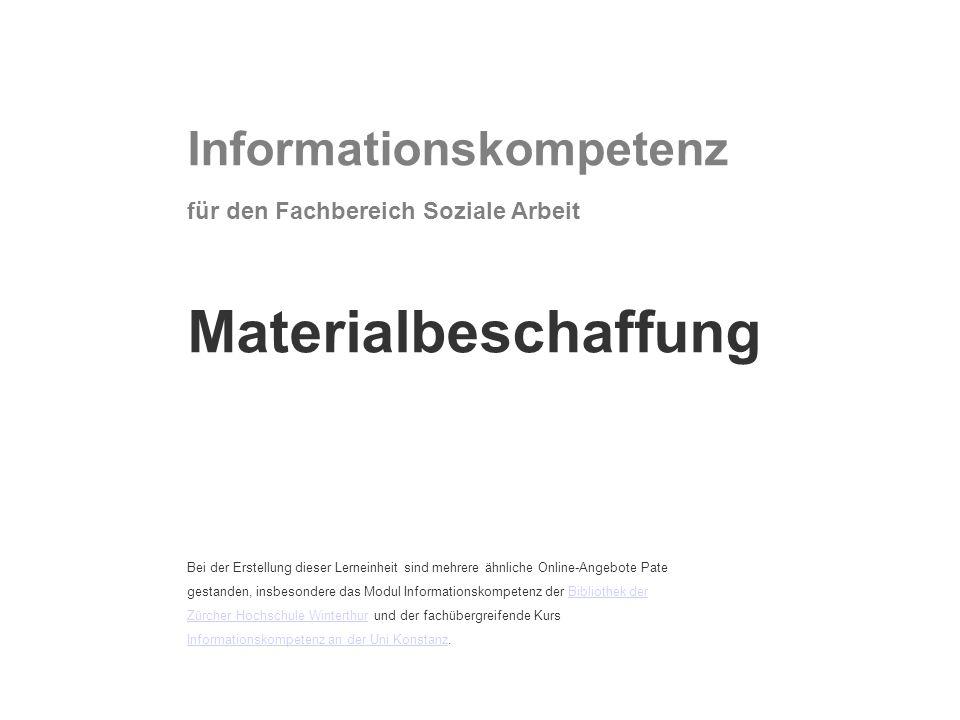 Informationskompetenz für den Fachbereich Soziale Arbeit