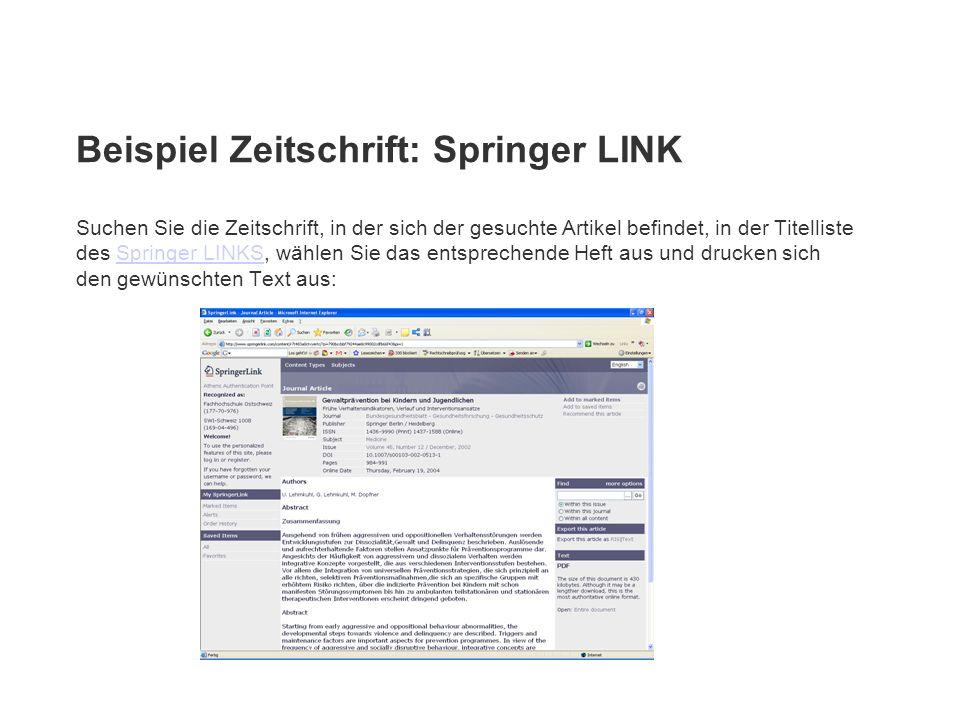 Beispiel Zeitschrift: Springer LINK