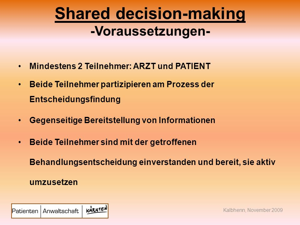 Shared decision-making -Voraussetzungen-