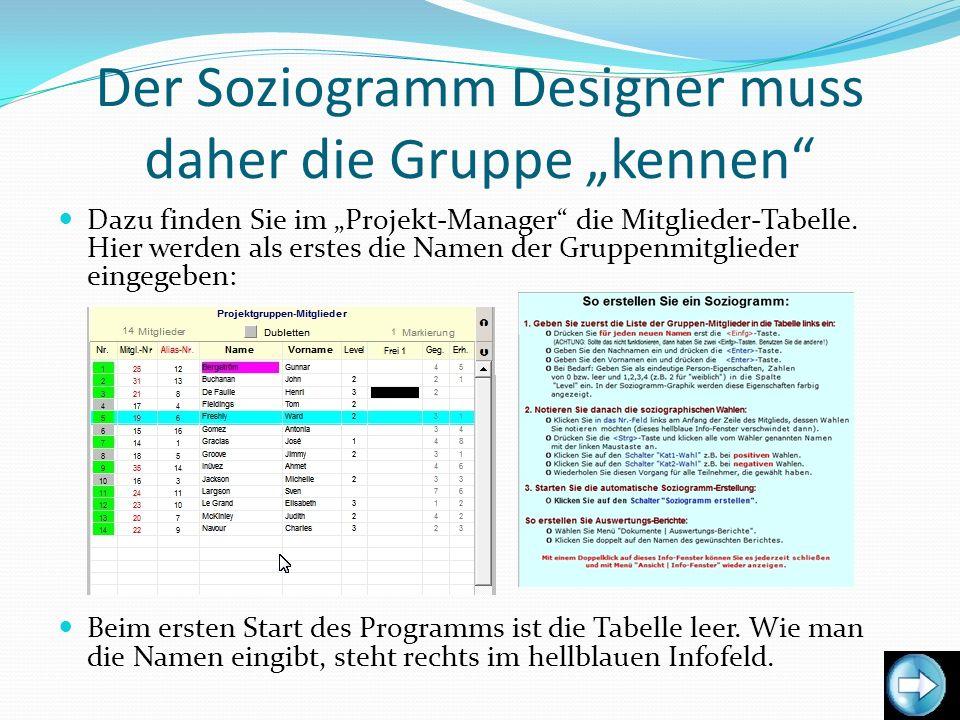 """Der Soziogramm Designer muss daher die Gruppe """"kennen"""