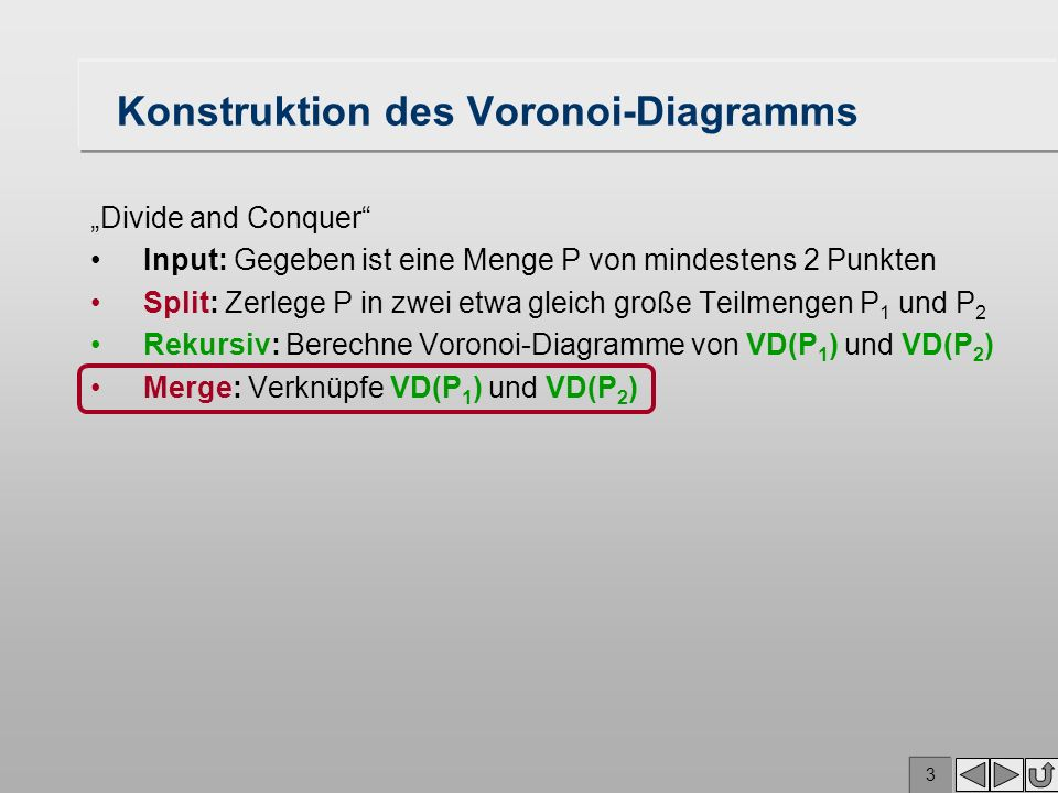 Konstruktion des Voronoi-Diagramms