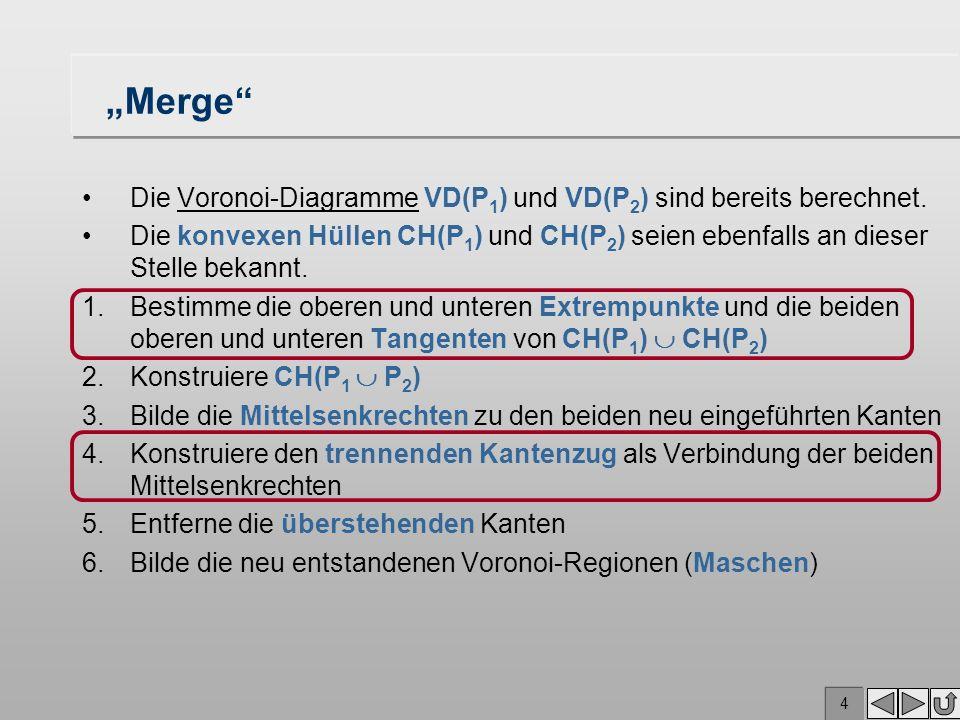 """""""Merge Die Voronoi-Diagramme VD(P1) und VD(P2) sind bereits berechnet."""