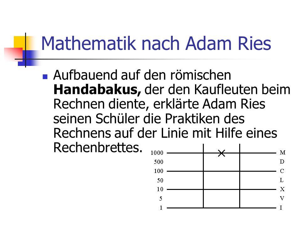 Mathematik nach Adam Ries