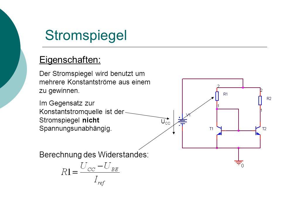 Stromspiegel Eigenschaften: Berechnung des Widerstandes: