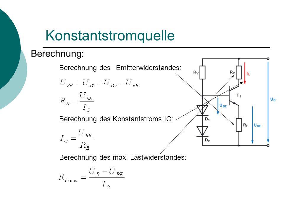 Konstantstromquelle Berechnung: Berechnung des Emitterwiderstandes:
