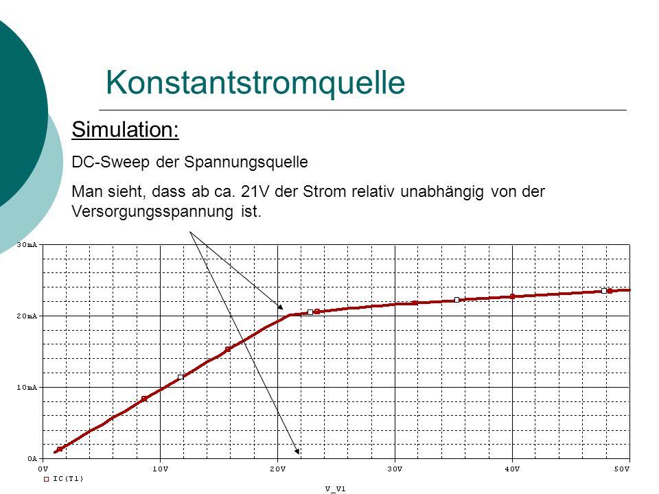 Konstantstromquelle Simulation: DC-Sweep der Spannungsquelle