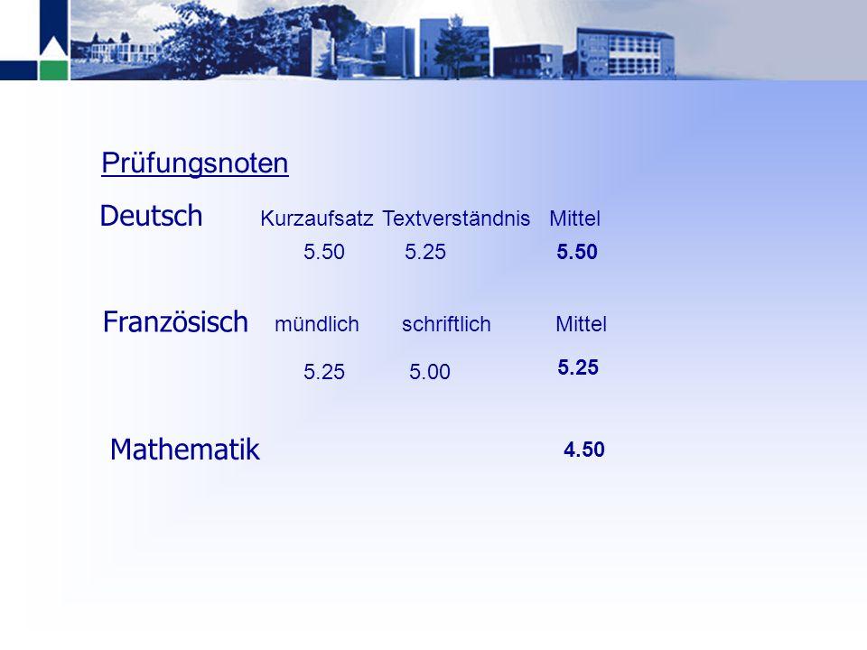 Prüfungsnoten Deutsch Französisch Mathematik Kurzaufsatz