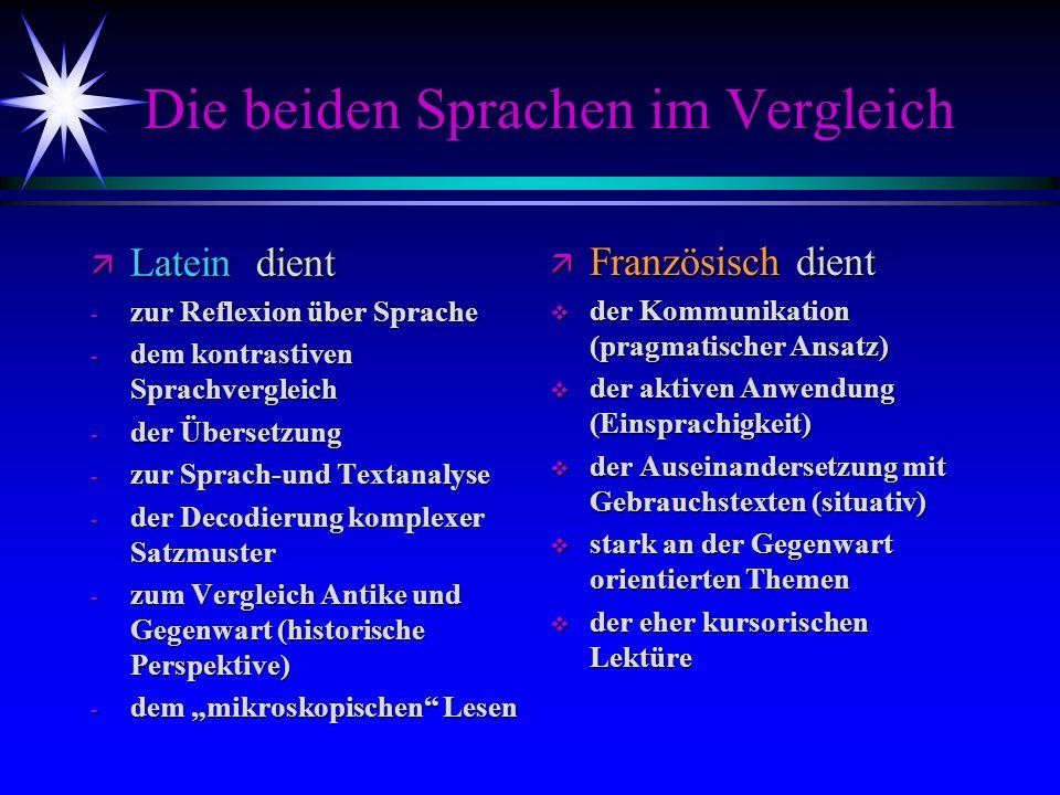 Die beiden Sprachen im Vergleich