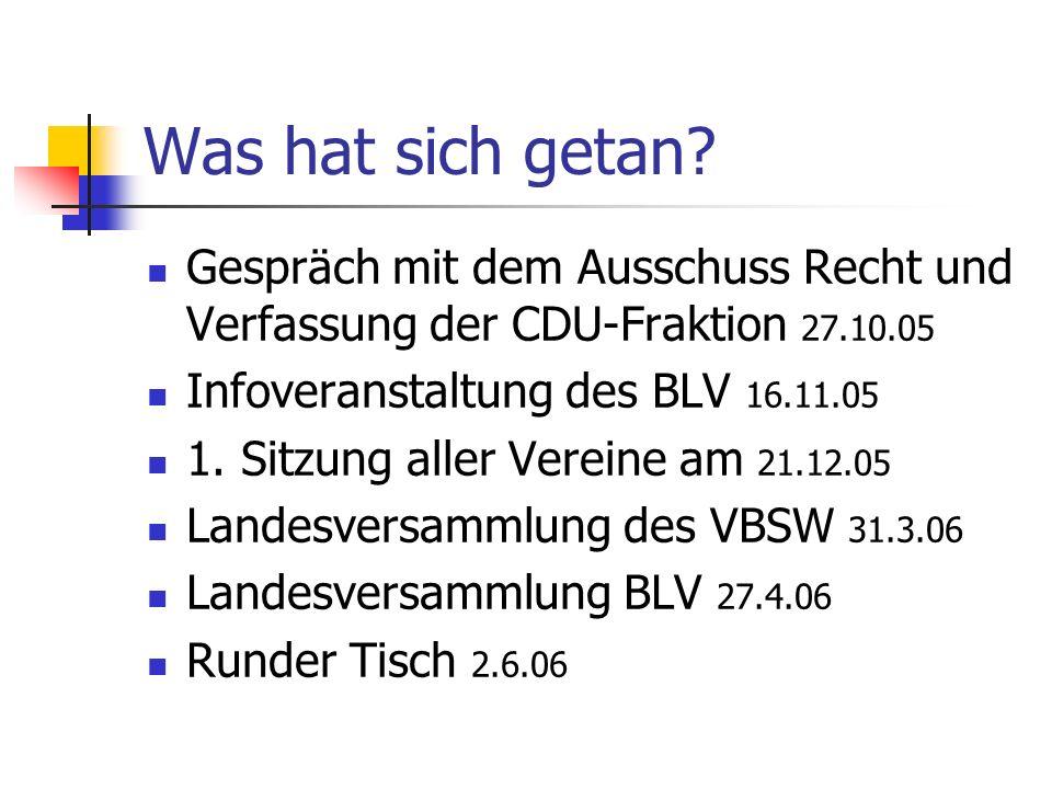 Was hat sich getan Gespräch mit dem Ausschuss Recht und Verfassung der CDU-Fraktion 27.10.05. Infoveranstaltung des BLV 16.11.05.