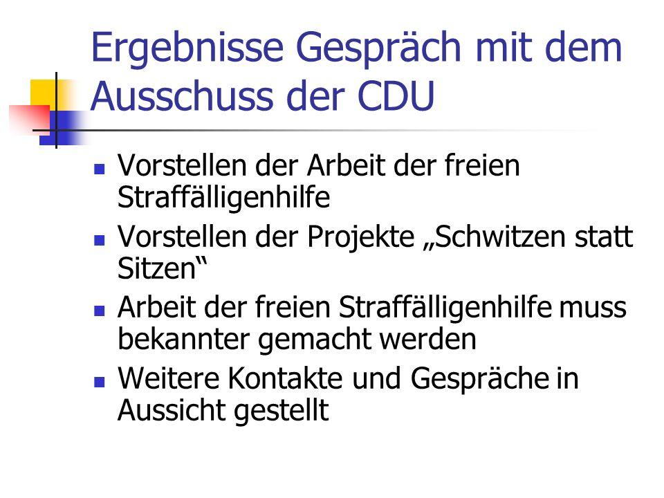 Ergebnisse Gespräch mit dem Ausschuss der CDU