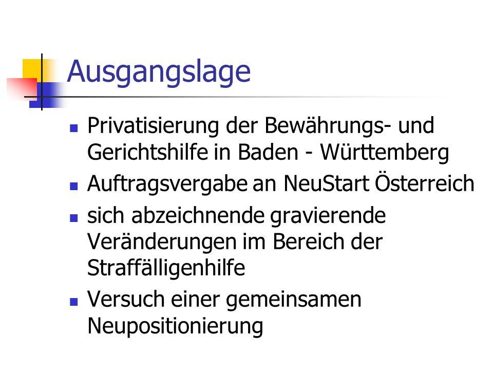 Ausgangslage Privatisierung der Bewährungs- und Gerichtshilfe in Baden - Württemberg. Auftragsvergabe an NeuStart Österreich.