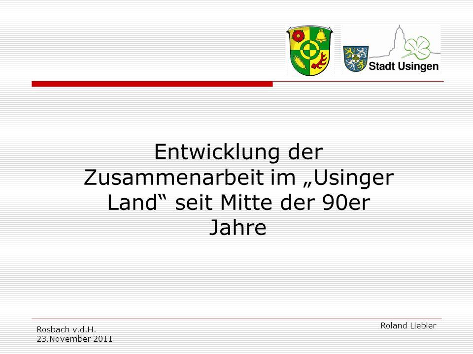 """Entwicklung der Zusammenarbeit im """"Usinger Land seit Mitte der 90er Jahre"""