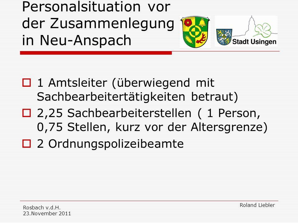 Personalsituation vor der Zusammenlegung in Neu-Anspach
