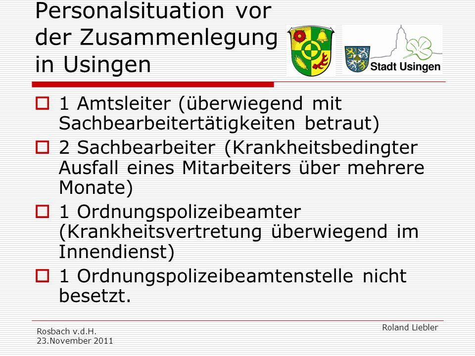 Personalsituation vor der Zusammenlegung in Usingen