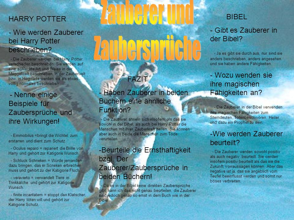 Zauberer und Zaubersprüche BIBEL HARRY POTTER