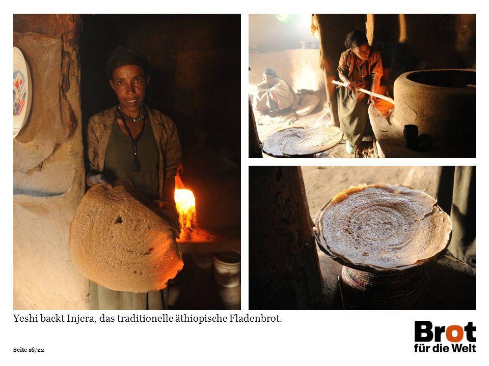 Yeshi backt Injera, das traditionelle äthiopische Fladenbrot.