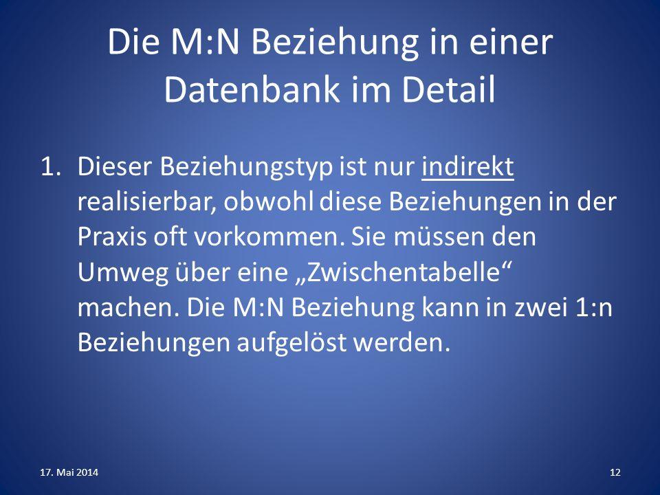 Die M:N Beziehung in einer Datenbank im Detail