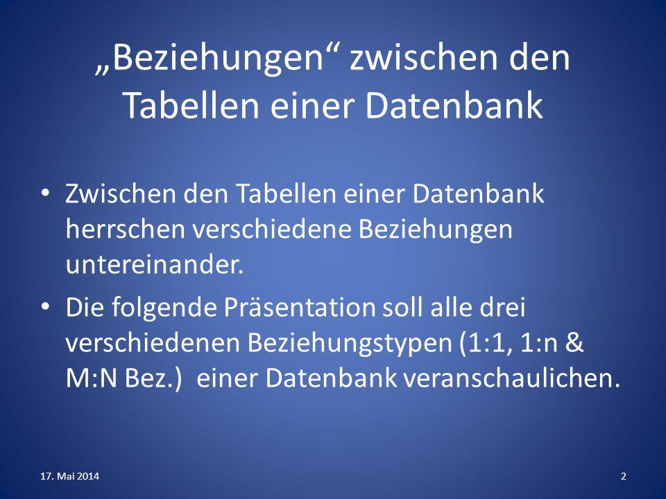 """""""Beziehungen zwischen den Tabellen einer Datenbank"""