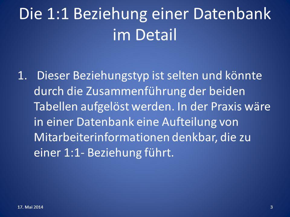 Die 1:1 Beziehung einer Datenbank im Detail