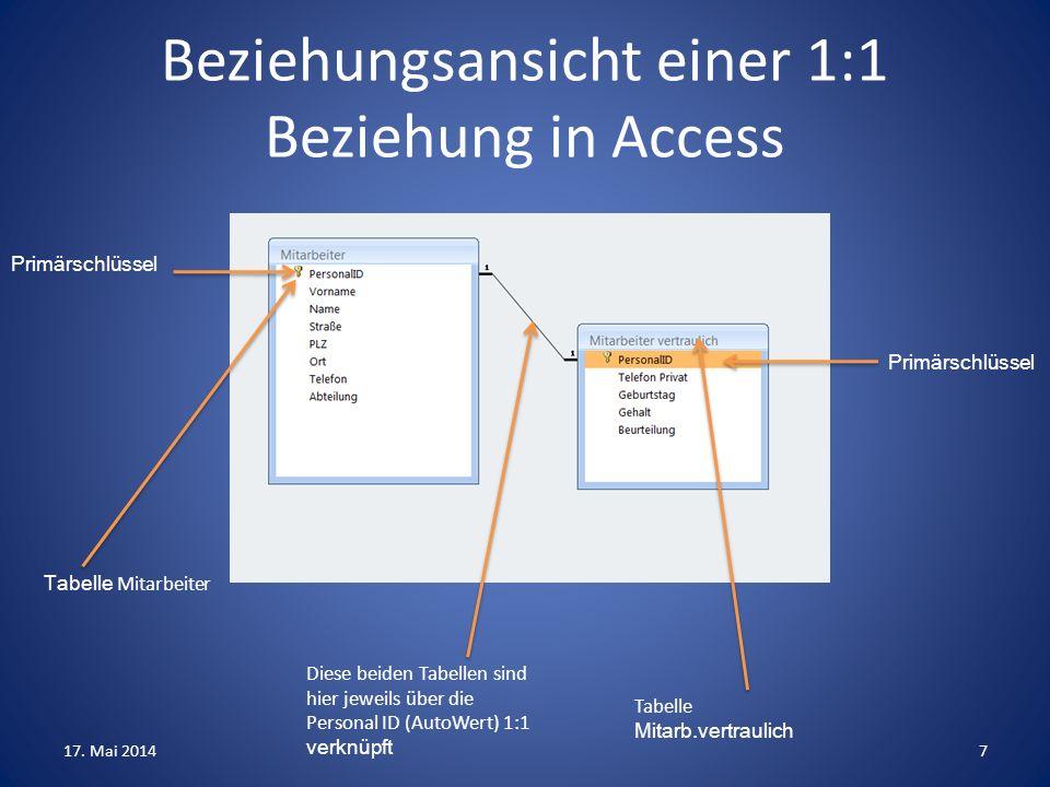 Beziehungsansicht einer 1:1 Beziehung in Access
