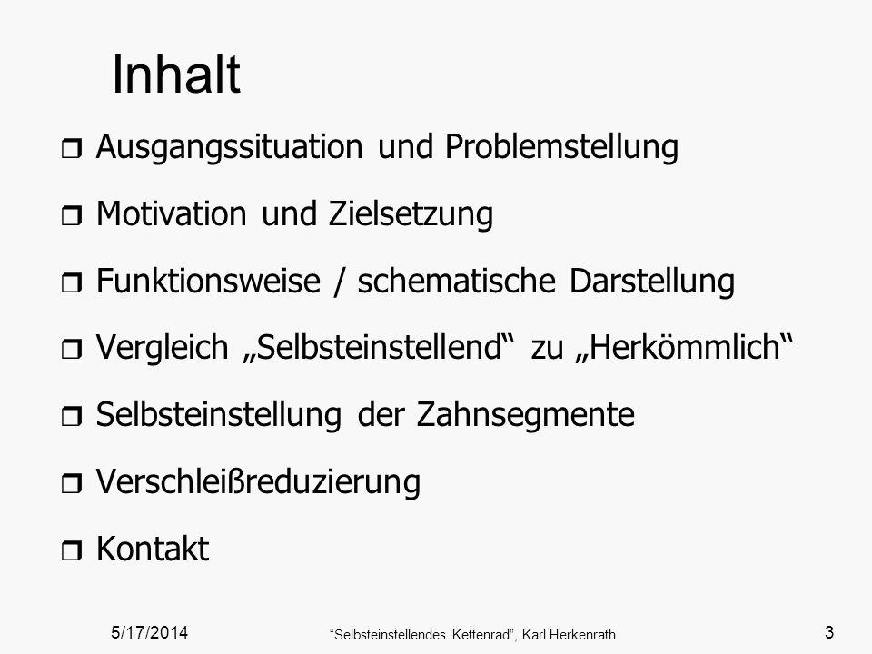 Selbsteinstellendes Kettenrad , Karl Herkenrath