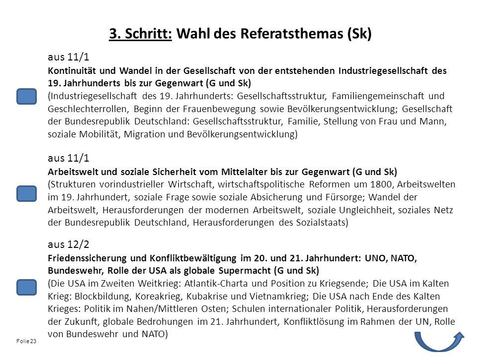 3. Schritt: Wahl des Referatsthemas (Sk)