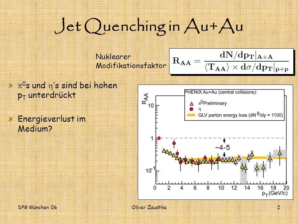 Jet Quenching in Au+Au p0s und h's sind bei hohen pT unterdrückt