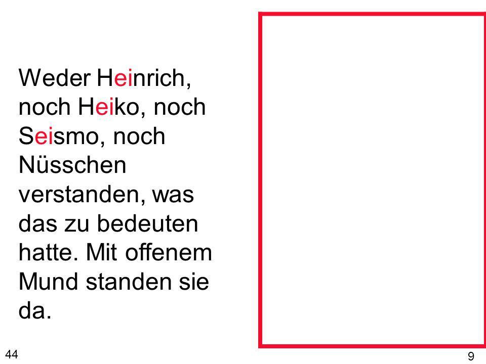 Weder Heinrich, noch Heiko, noch Seismo, noch Nüsschen verstanden, was das zu bedeuten hatte. Mit offenem Mund standen sie da.