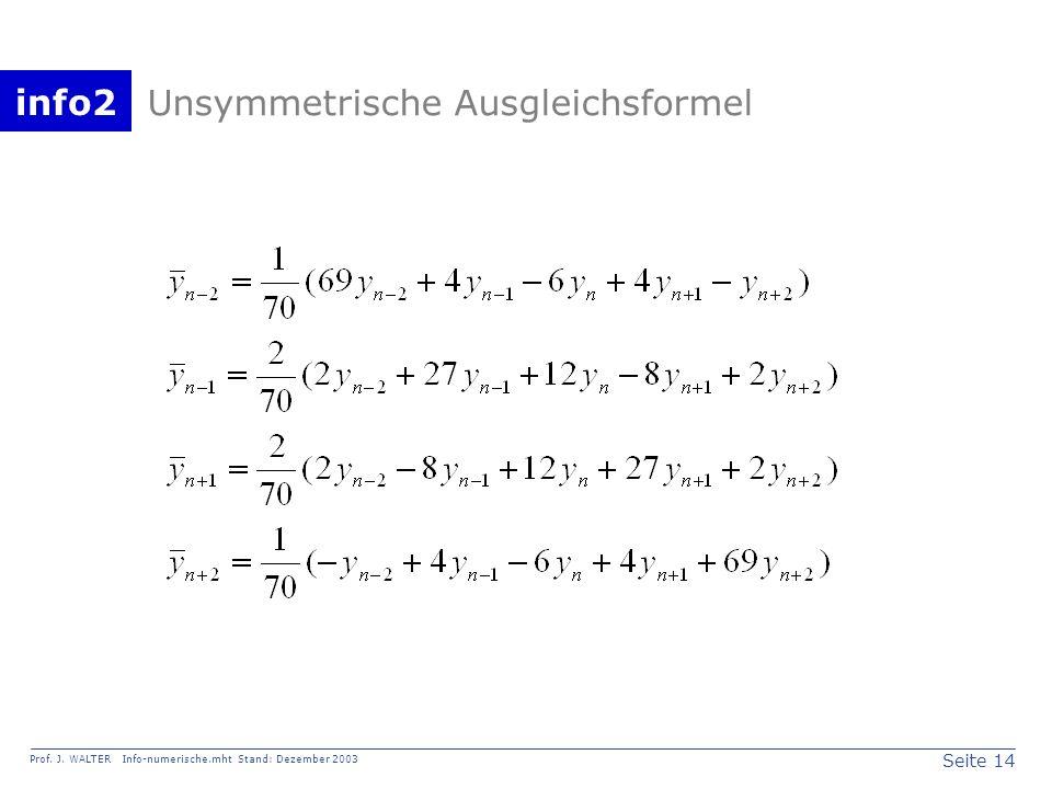 Unsymmetrische Ausgleichsformel
