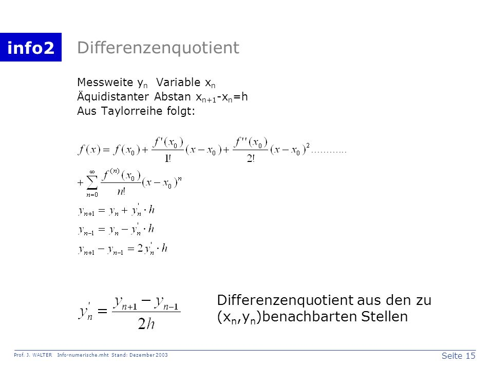 Differenzenquotient Messweite yn Variable xn. Äquidistanter Abstan xn+1-xn=h. Aus Taylorreihe folgt:
