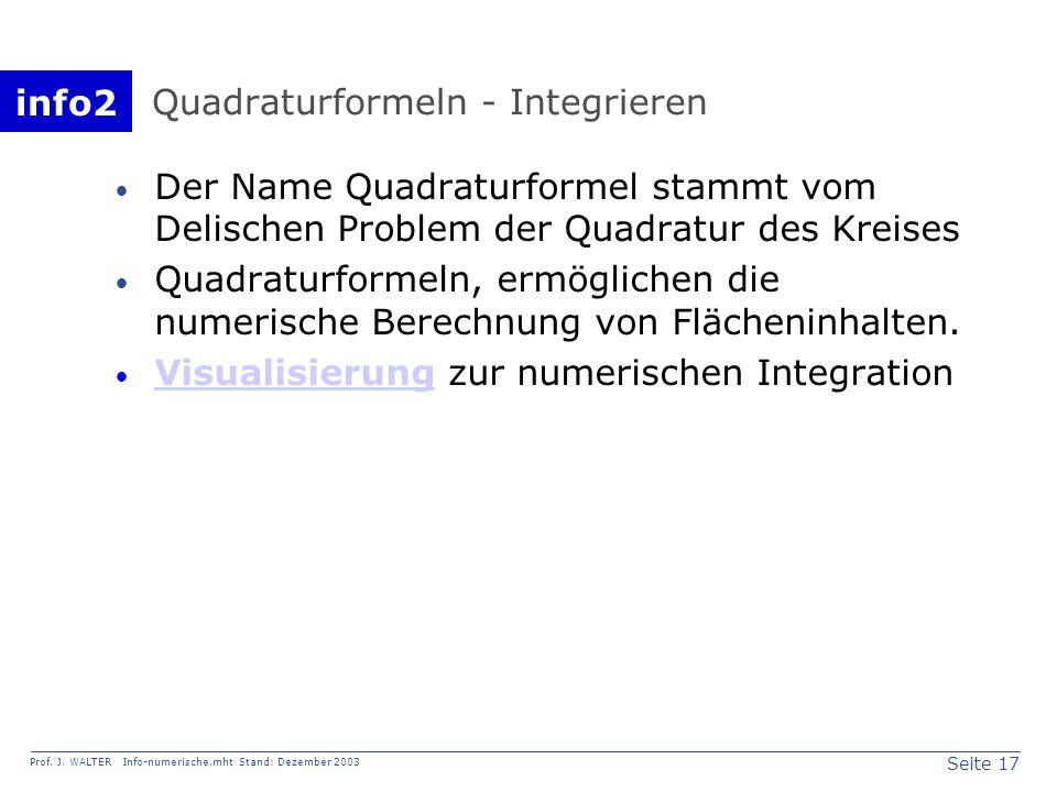 Quadraturformeln - Integrieren