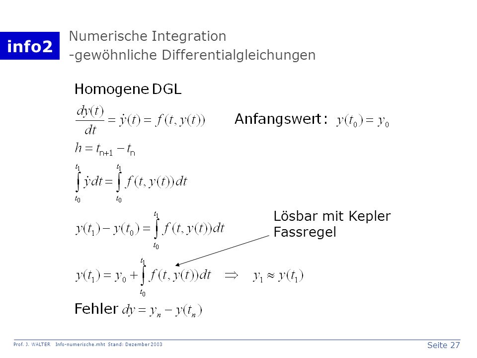 Numerische Integration -gewöhnliche Differentialgleichungen